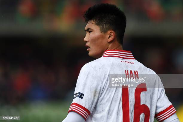 Kwang Song Han of Perugia looks on during the Serie A match between Ternana Calcio and AC Perugia at Stadio Libero Liberati on November 26 2017 in...