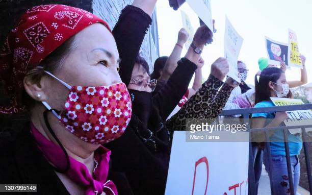 Kwang Song , originally from Korea, protests hate crimes committed against Asian-American and Pacific Islander communities in Koreatown on March 19,...