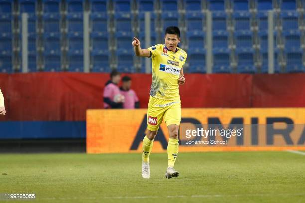 Kwang-Ryong Pak of St. Poelten during the Uniqa OeFB Cup match between Spusu SKN St. Poelten and FC Wacker Innsbruck at NV Arena on February 7, 2020...