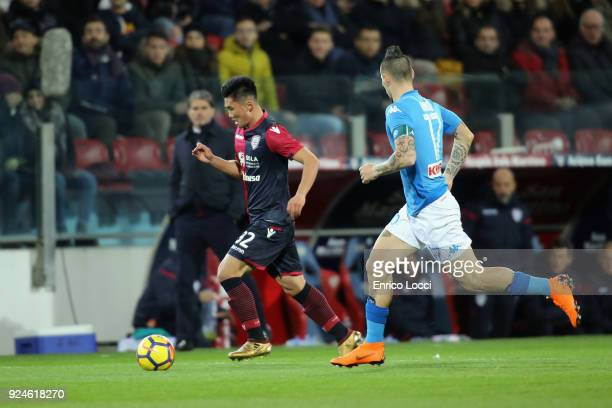 Kwangsong Han of Cagliari in action during the Serie A match between Cagliari Calcio and SSC Napoli at Stadio Sant'Elia on February 26 2018 in...