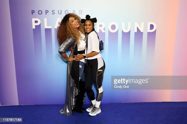 Kwanza Jones and Deja Riley attend the during POPSUGAR Play/Ground at Pier 94 on June 23, 2019 in New York City.
