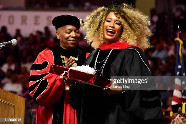 Kwanza Jones reacts following her commencement speech for Winston-Salem State University at Lawrence Joel Veterans Memorial Coliseum on May 10, 2019...