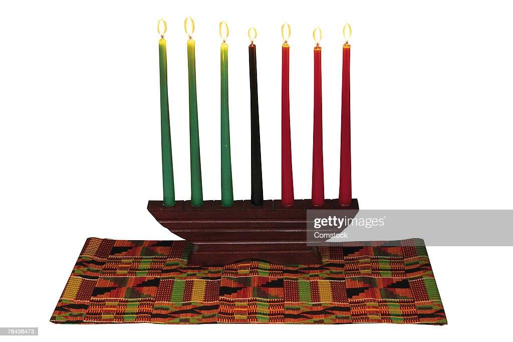 Kwanzaa candelabra : Stockfoto