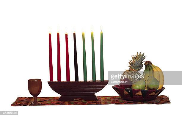 kwanzaa candles and food still life - kwanzaa stock pictures, royalty-free photos & images