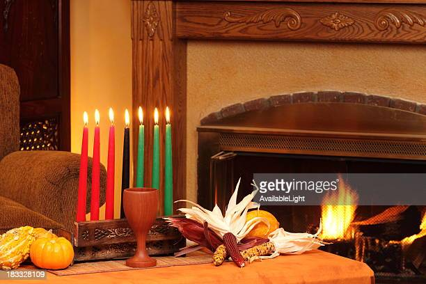 Kwanzaa Candles By Fireplace Left Horizontal