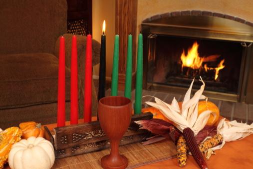 Kwanzaa Candles By Fireplace Medium Horizontal 183380662