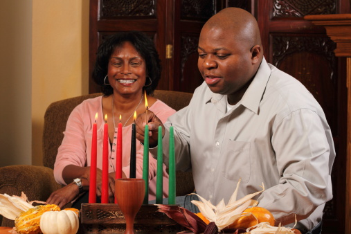 Kwanzaa Couple Horizontal Red Candles Lit 186872265