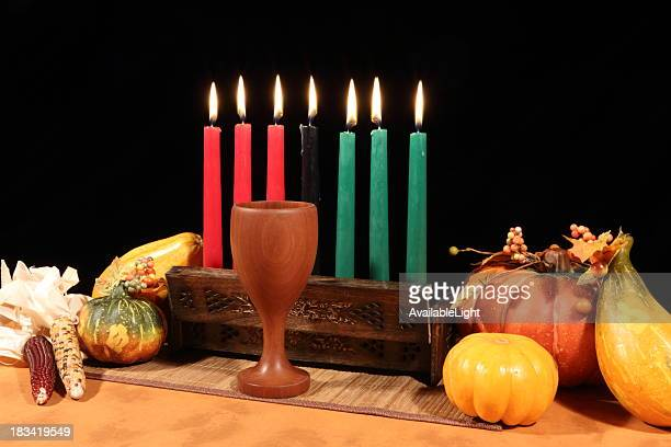 Kwanzaa Display on Black All Candles Lit