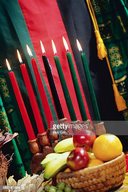 Kwanzaa Fruit and Candles Still Life