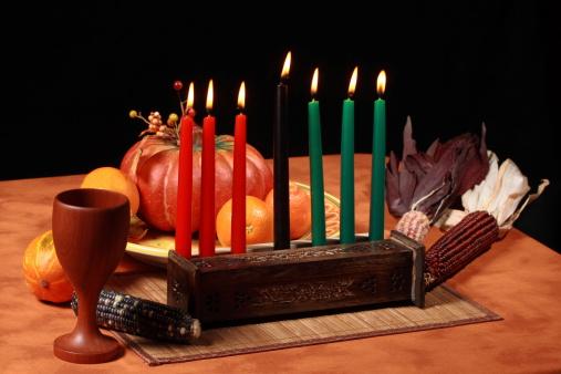 Kwanzaa Table Candles Lit 173020799