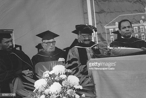 Kweisi Mfume and President of Morgan State University Earl Richardson at Morgan State University Baltimore Maryland Original Caption Reads 'Morgan...