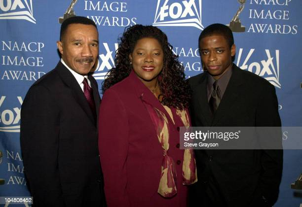 LR Kweisi Mfume President and CEO of the NAACP actress Loretta Devine actor Dule Hill pose for photographers at the nominations announcements for the...