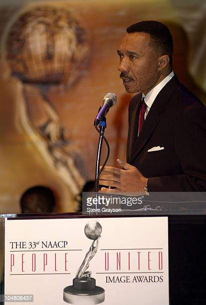 Kweisi Mfume President and CEO of the NAACP addresses the audience at the nominations announcements for the 33rd NAACP Image Awards at the House of...