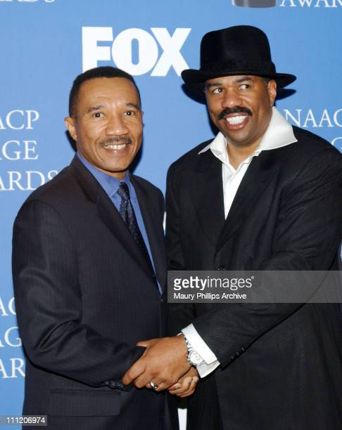 Kweisi Mfume Steve Harvey during The 34th NAACP Image Awards Nominations at Pacific Design Center in Hollywood California United States