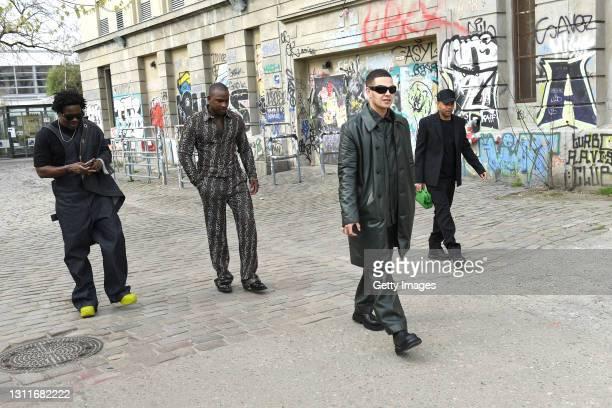 Kwes Darko, Skepta, Slowthai and Alex Sossah arrive at Bottega Veneta Salon 02 Berlin at the Berghain on April 09, 2021 in Berlin, Germany.