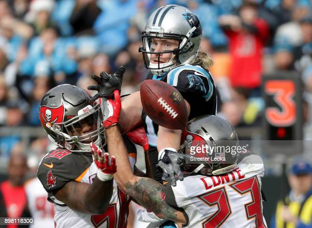 Kwon Alexander of the Tampa Bay Buccaneers intercepts a pass to Brenton Bersin of the Carolina Panthers in the third quarter during their game at...