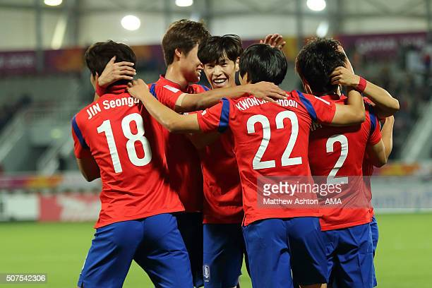 Kwon Chang Hoon of South Korea celebrates after scoring a goal to make it 10 during the AFC U23 Championship final match between South Korea and...