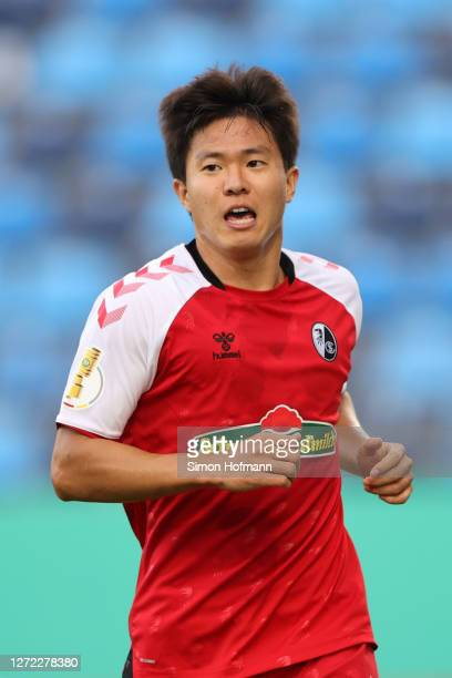 Kwon Chang-Hoon of SC Freiburg celebrates after scoring his team's first goal during the DFB Cup first round match between SV Waldhof Mannheim and...