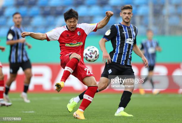 Kwon Chang-Hoon of SC Freiburg scores his team's first goal during the DFB Cup first round match between SV Waldhof Mannheim and Sport-Club Freiburg...