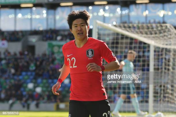 Kwon Chang-Hoon of South Korea celebrates after scoring a goal to make it 1-0 during an International Friendly fixture between Northern Ireland and...
