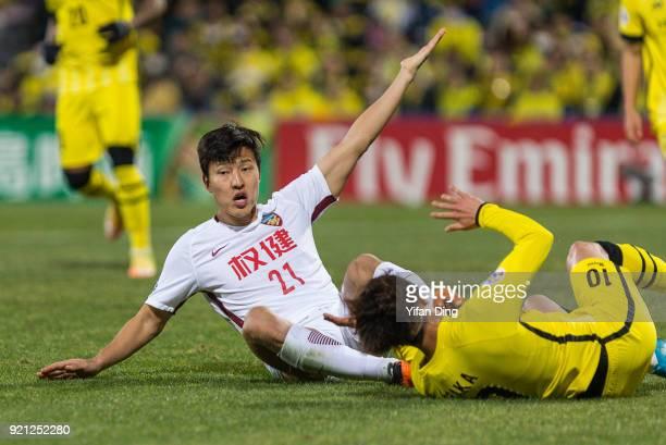 Kwon Kyungwon of Tianjin Quanjian in action during the AFC Champions League match between Kasshiwa Reysol and Tianjin Quanjian at Sankyo Frontier...