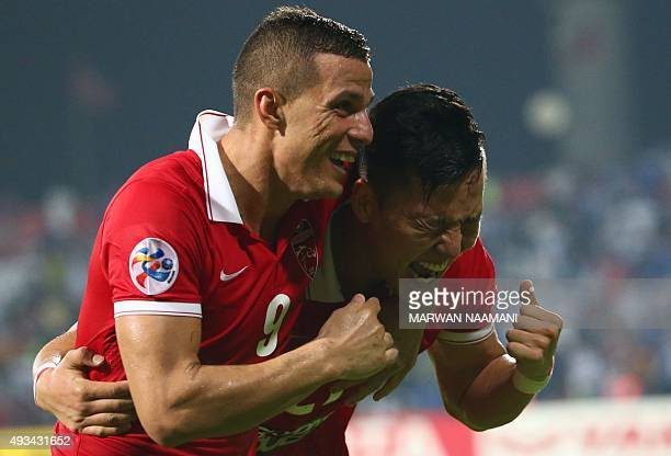 Kwon Kyung-Won of UAE's Al-Ahli celebrates after scoring a third goal against Saudi's Al-Hilal during their AFC Champions League semi final football...