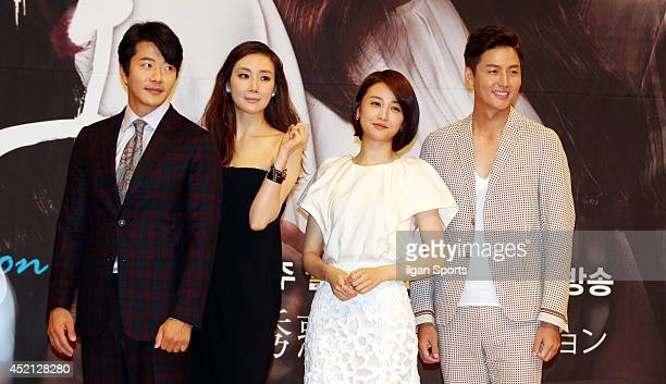 Kwon SangWoo Choi JiWoo Park HaSun and Lee JungJin pose for photographs during the SBS drama 'Temptation' press conference at SBS broadcasting center...