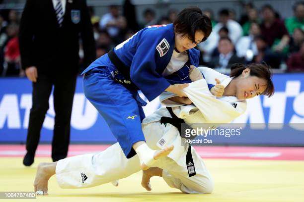 Kwon Youjeong of South Korea competes against Tsukasa Yoshida of Japan in the Women's 57kg bronze medal match on day two of the Grand Slam Osaka at...