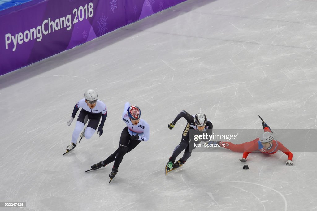 Kwong Bom Jong (PRK) falls during the Men's 500M Heat 7 race during the 2018 Winter Olympic Games at the Gangneung Ice Arena on February 20, 2018 in PyeongChang, South Korea.