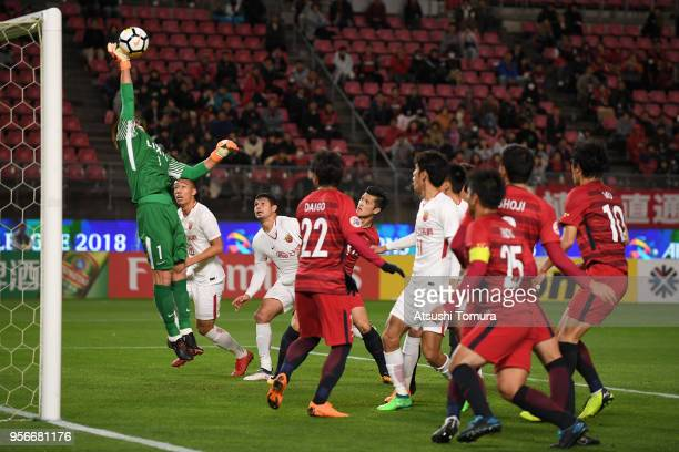 Kwoun Suntae of Kashima Antlers makes a save during the AFC Champions League Round of 16 first leg match between Kashima Antlers and Shanghai SIPG at...