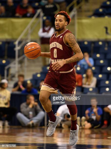Ky Bowman of the Boston College Eagles brings the ball up court in the second half during the game against the Pittsburgh Panthers at Petersen Events...