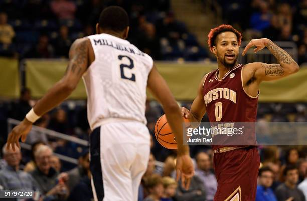 Ky Bowman of the Boston College Eagles dribbles against Jonathan Milligan of the Pittsburgh Panthers in the second half during the game at Petersen...