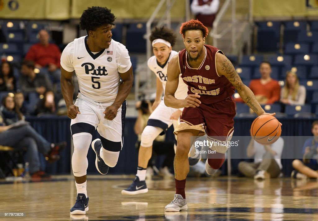 Ky Bowman #0 of the Boston College Eagles dribbles against Marcus Carr #5 of the Pittsburgh Panthers in the second half during the game at Petersen Events Center on February 13, 2018 in Pittsburgh, Pennsylvania.