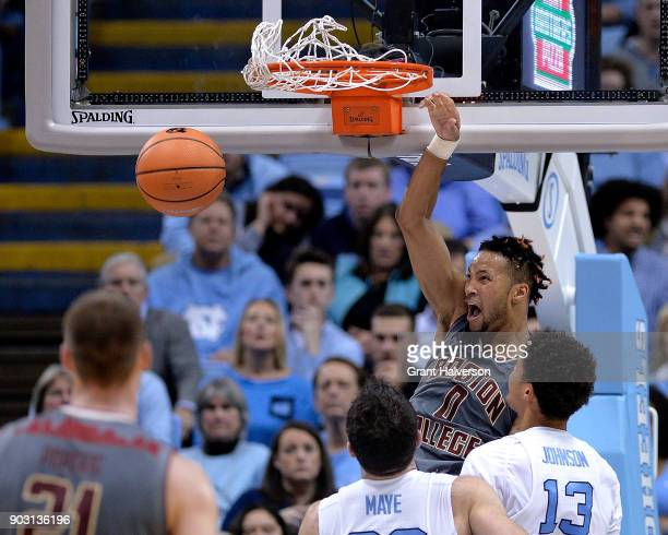 Ky Bowman of the Boston College Eagles dunks against the North Carolina Tar Heels during their game at the Dean Smith Center on January 9 2018 in...