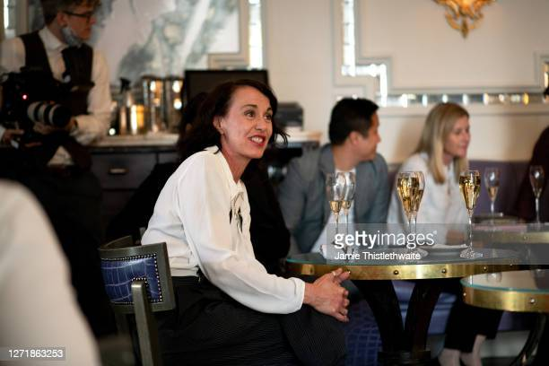 """Ky Holye during the """"Henpire"""" podcast launch event at Langham Hotel on September 10, 2020 in London, England."""