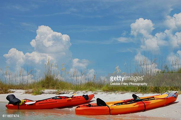 kyacks at shell island - st. petersburg florida stock photos and pictures