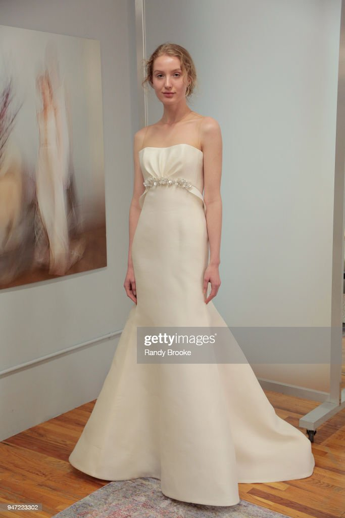 Kyah LaBancz models the Angel Sanchez Bridal 2019 Preview of his collection during New York Fashion Week: Bridal April 2018 on April 16, 2018 in New York City.