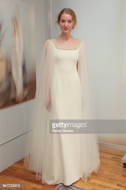 Kyah LaBancz models the Angel Sanchez Bridal 2019 Preview of his collection during New York Fashion Week Bridal April 2018 on April 16 2018 in New...