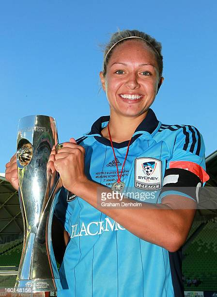 Kyah Simon Captain of Sydney FC celebrates with the trophy after winning the WLeague Grand Final between the Melbourne Victory and Sydney FC at AAMI...