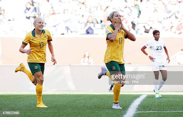 Kyah Simon of Australia celebrates scoring her second goal during the Group D match between Australia and Nigeria of the FIFA Women's World Cup 2015...