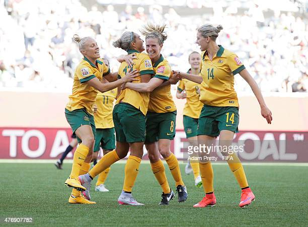 Kyah Simon of Australia is congratulated after scoring her second goal during the Group D match between Australia and Nigeria of the FIFA Women's...
