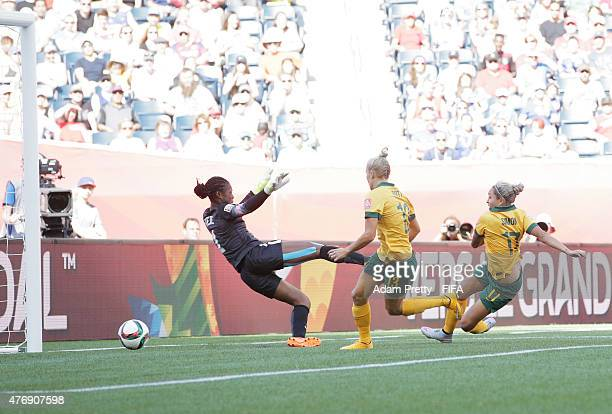 Kyah Simon of Australia scores her second goal during the Group D match between Australia and Nigeria of the FIFA Women's World Cup 2015 at Winnipeg...