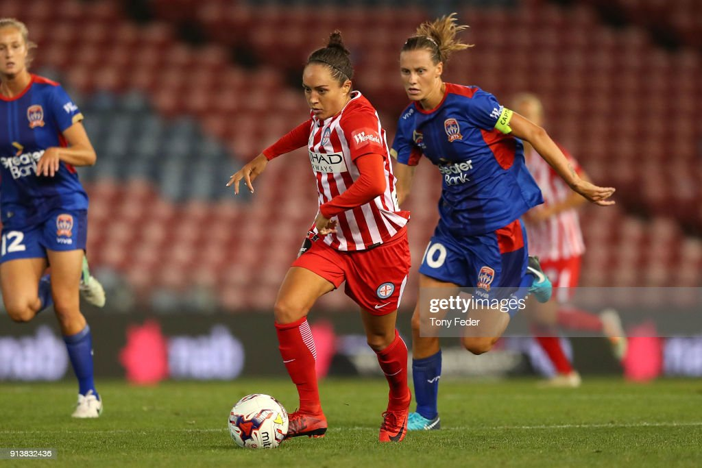 Kyah Simon of City controls the ball during the round 14 W-League match between the Newcastle Jets and Melbourne City FC at McDonald Jones Stadium on February 3, 2018 in Newcastle, Australia.