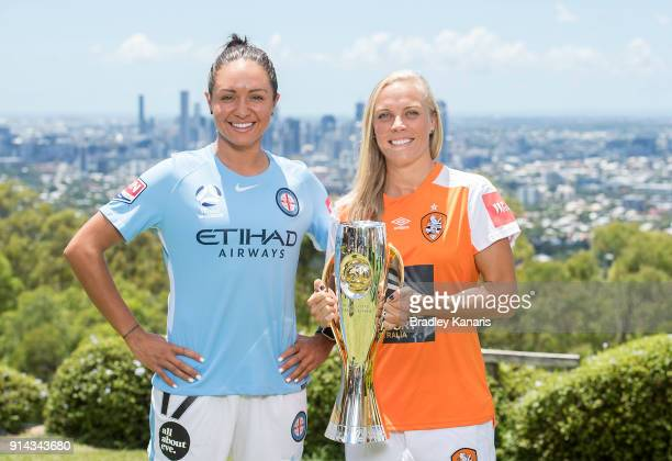 Kyah Simon of Melbourne City and Tameka Butt of Brisbane Roar pose for a photo during the official launch of the W-League Finals Series at Brisbane...