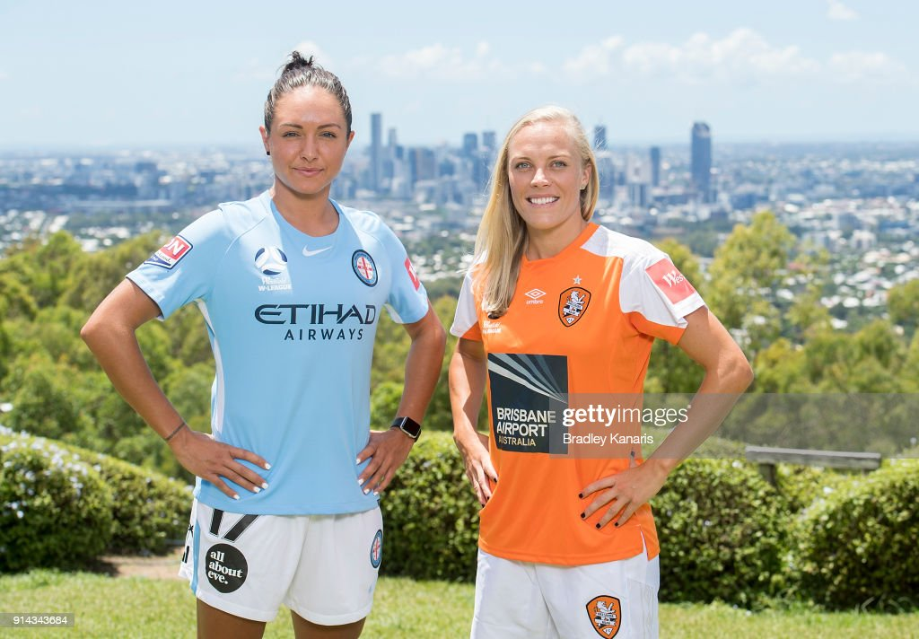 Kyah Simon of Melbourne City and Tameka Butt of Brisbane Roar pose for a photo during the official launch of the W-League Finals Series at Brisbane Lookout on February 5, 2018 in Brisbane, Australia.