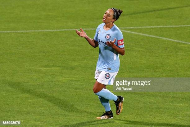 Kyah Simon of Melbourne City reacts after missing a shot at goal during the round one WLeague match between the Perth Glory and Melbourne City FC at...