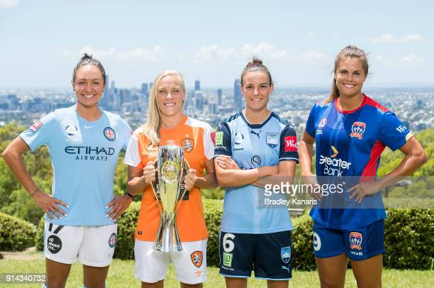 Kyah Simon of Melbourne City Tameka Butt of Brisbane Roar Chloe Logarzo of Sydney FC and Katie Stengel of Newcastle Jets pose for a photo during the...