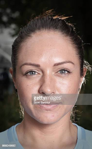 Kyah Simon of Melbourne City Womens team poses during a Melbourne City WLeague media opportunity at SBS Studios on October 25 2017 in Melbourne...