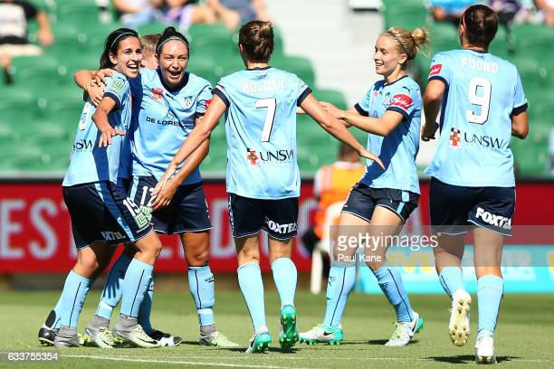 Kyah Simon of Sydney celebrates a goal during the WLeague Semi Final match between the Perth Glory and Sydney FC at nib Stadium on February 4 2017 in...