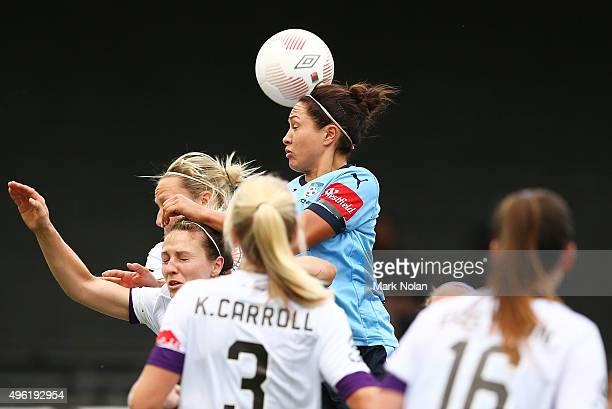 Kyah Simon of Sydney contests possession during the round four WLeague match between Sydney FC and Perth Glory at Lambert Park on November 8 2015 in...